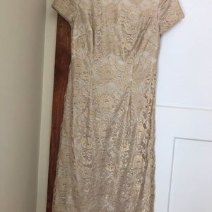 Formal dress.  Lace gold.  EUC worn once.